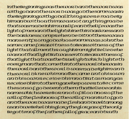 Example of script without word spacing or punctuation