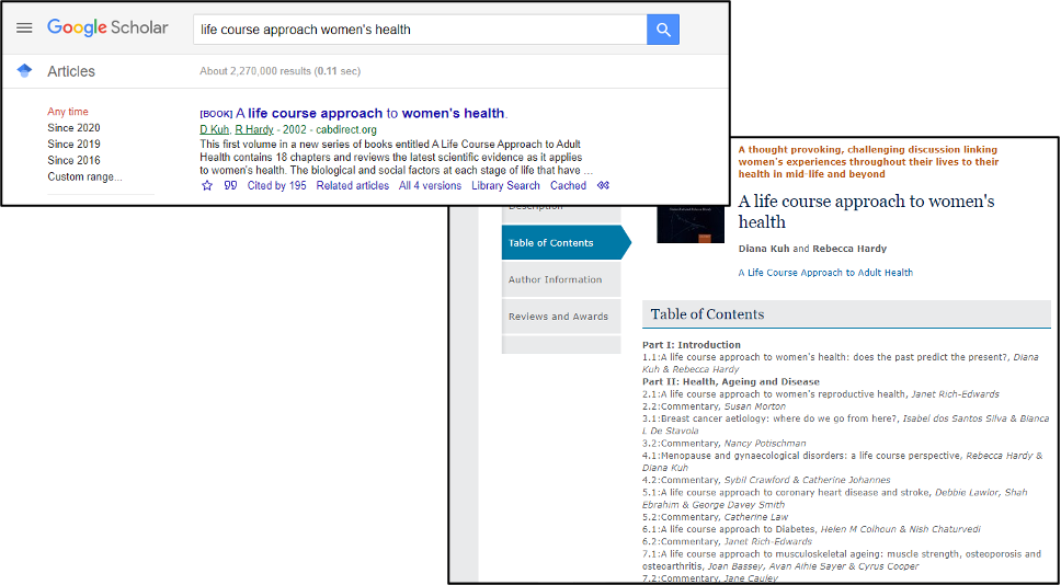 Two screenshots - one of search results on Google Scholar and one of a university library catalogue search results.