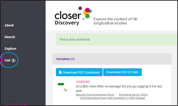 screenshot of the CLOSER Discovery website with the list link of the menu circled
